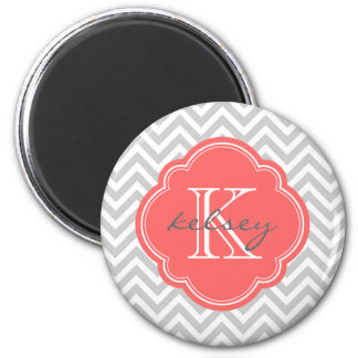 Gray and Coral Modern Chevron Custom Monogram Magnet