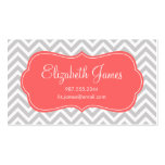 Gray and Coral Modern Chevron Stripes Double-Sided Standard Business Cards (Pack Of 100)