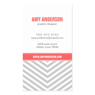 Gray and Coral Modern Chevron Stripes Business Card