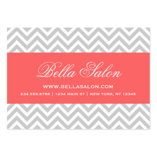 Gray and Coral Modern Chevron Stripes Business Card Templates