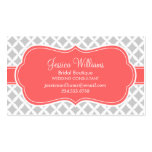 Gray and Coral Modern Diamonds Business Card