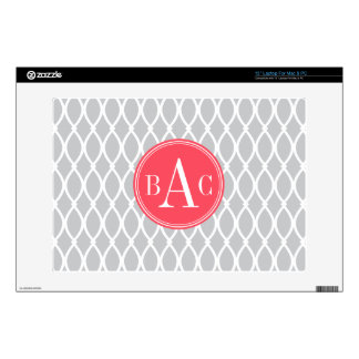 Gray and Coral Monogrammed Barcelona Print Decal For Laptop