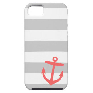 Gray and Coral Nautical Stripes and Cute Anchor iPhone 5 Case
