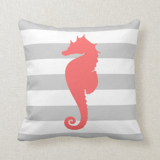 Gray and Coral Nautical Stripes and Cute Seahorse Throw Pillow
