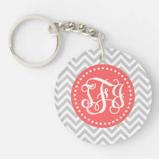 Gray and Coral Preppy Chevron Script Monogram TFJ Double-Sided Round Acrylic Keychain