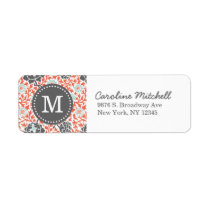Gray and Coral Retro Floral Damask Custom Monogram Label