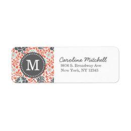 Gray and Coral Retro Floral Damask Custom Monogram Label