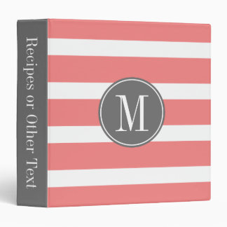 Gray and Coral Striped Pattern with Monogram Vinyl Binders