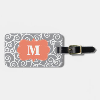 Gray and Coral Swirl Monoagram Bag Tag