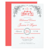 Gray and Coral Vintage Bicycle Rehearsal Dinner Invitation