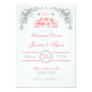 Gray and Coral Vintage Bicycle Rehearsal Dinner 5x7 Paper Invitation Card