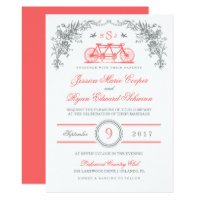 Gray and Coral Vintage Bicycle Wedding Invitation
