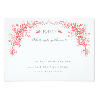 "GRAY AND CORAL VINTAGE WEDDING RSVP CARD 3.5"" X 5"" INVITATION CARD"