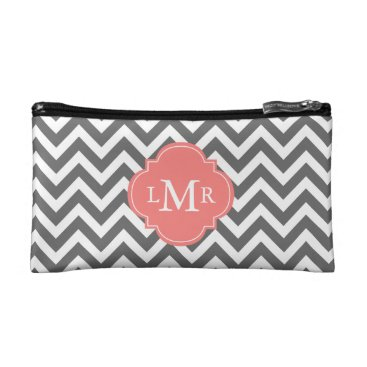 heartlocked Gray and Coral Zigzags Monogram Makeup Bag
