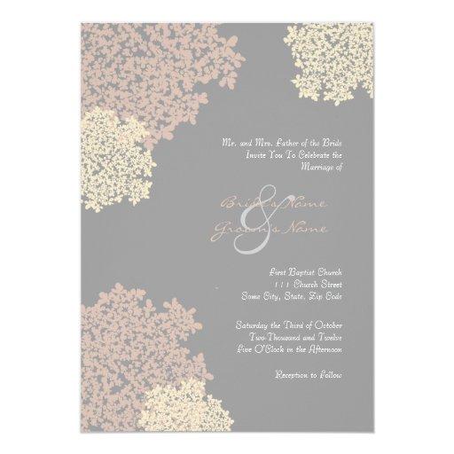 Gray and Cream Queen Anne's Lace Invitation