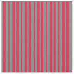 [ Thumbnail: Gray and Crimson Colored Stripes Fabric ]