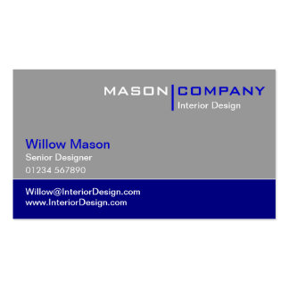 Gray and Dark Blue Corporate Business Card