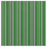 [ Thumbnail: Gray and Dark Green Colored Lines Pattern Fabric ]