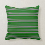 [ Thumbnail: Gray and Dark Green Colored Lines Pattern Pillow ]