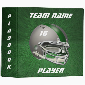 Gray and Dark Green Football Helmet Binder