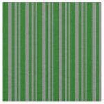 [ Thumbnail: Gray and Dark Green Striped Pattern Fabric ]