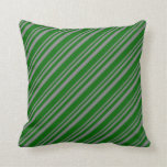 [ Thumbnail: Gray and Dark Green Striped Pattern Throw Pillow ]