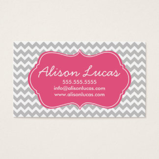 Gray and Dark Pink Modern Chevron Stripes Business Card