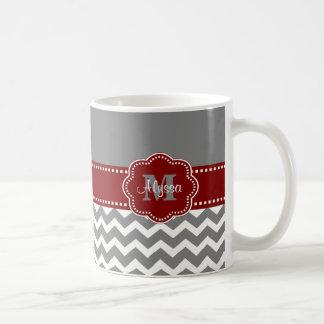 Gray and Dark Red Chevron Personalized Mug