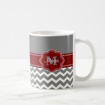 Coffee Themed Gray and Dark Red Chevron Personalized Mug