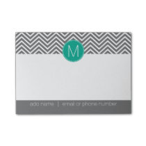 Gray and Emerald Chevrons with Custom Monogram Post-it Notes