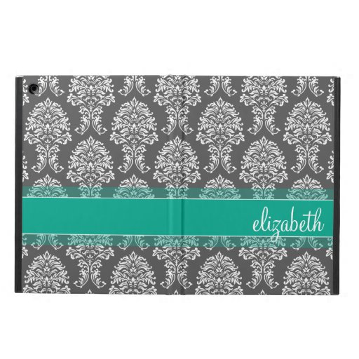Gray and Emerald Vintage Damask Pattern with Name iPad Air Case