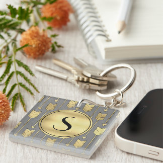 Gray and Faux Gold Arrows Monogram Keychain