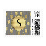 Gray and Faux Gold Arrows Monogram Postage Stamps