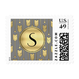 Gray and Faux Gold Arrows Monogram Stamp