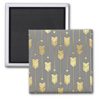 Gray and Faux Gold Arrows Pattern 2 Inch Square Magnet