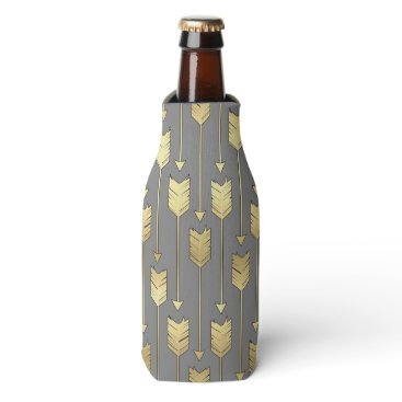 Aztec Themed Gray and Faux Gold Arrows Pattern Bottle Cooler