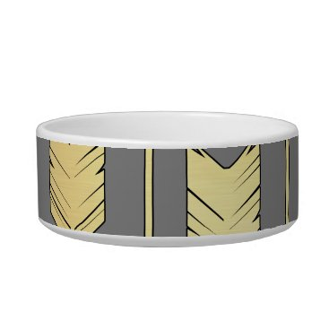 Aztec Themed Gray and Faux Gold Arrows Pattern Bowl