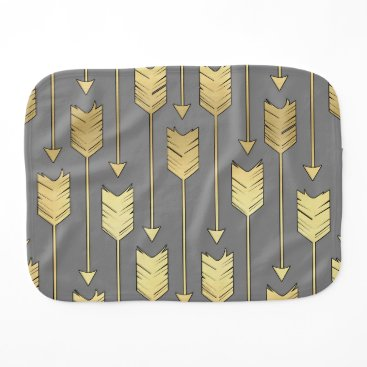 Aztec Themed Gray and Faux Gold Arrows Pattern Burp Cloth