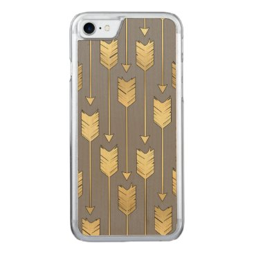 Aztec Themed Gray and Faux Gold Arrows Pattern Carved iPhone 7 Case