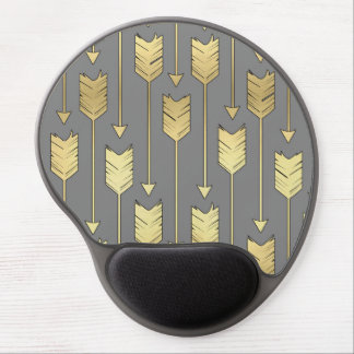 Gray and Faux Gold Arrows Pattern Gel Mouse Pad
