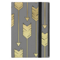 Gray and Faux Gold Arrows Pattern iPad Mini Case