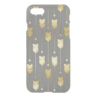 Aztec Themed Gray and Faux Gold Arrows Pattern iPhone 7 Case