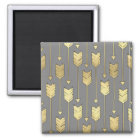 Gray and Faux Gold Arrows Pattern Magnet