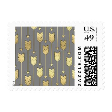 Aztec Themed Gray and Faux Gold Arrows Pattern Postage