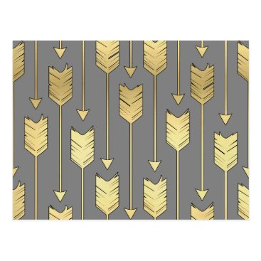 Aztec Themed Gray and Faux Gold Arrows Pattern Postcard