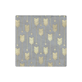 Gray and Faux Gold Arrows Pattern Stone Magnet
