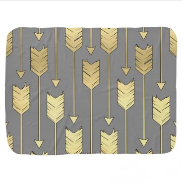 Aztec Themed Gray and Faux Gold Arrows Pattern Swaddle Blanket