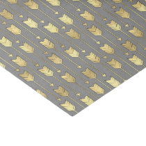 Gray and Faux Gold Arrows Pattern Tissue Paper