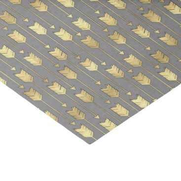 Aztec Themed Gray and Faux Gold Arrows Pattern Tissue Paper