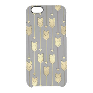 Gray and Faux Gold Arrows Pattern Uncommon Clearly™ Deflector iPhone 6 Case